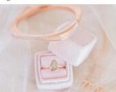 Velvet Ring Box Vintage Inspired Handmade Velvet and Ribbon in Pink Blush Velvet and Grosgrain For Weddings, Heirloom Jewelry