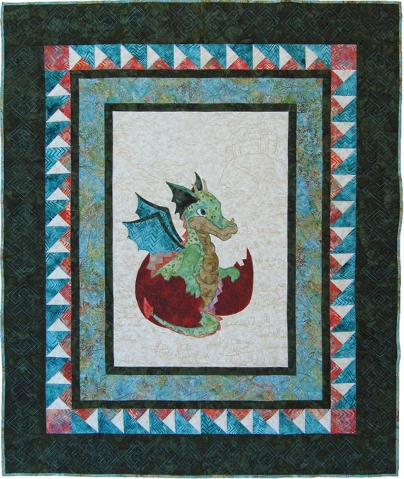 Baby Quilt Pattern Pdf Dragon Quilt Baby Shower Gift