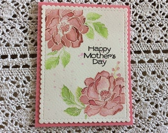 Handmade Greeting Card: Mother's Day Card with water colored roses.