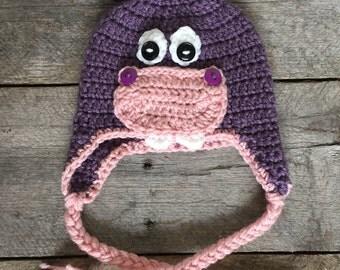 Hippo hat; animal hat; zoo animal hat; purple hat.