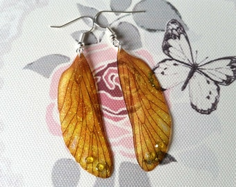 Magical Yellow-Gold Summer Fairy Wing Earrings