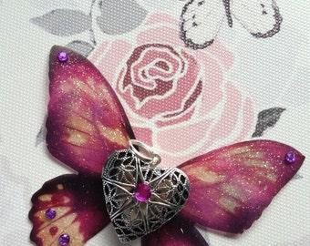 Magical Peony-Purple Winged Heart Locket