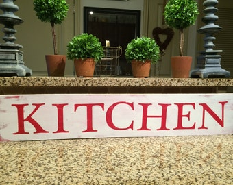 """KITCHEN farmhouse sign. Fixer Upper. Rustic. Modern Farmhouse. Primitive. Barn Wood. Reclaimed Wood. Chalk Paint. Distressed sign. 36"""""""