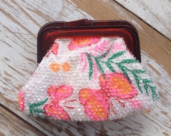 Vintage beaded butterfly coin purse, beaded coin purse, vintage coin purse, flowers and butterflies, pink orange and green coin purse