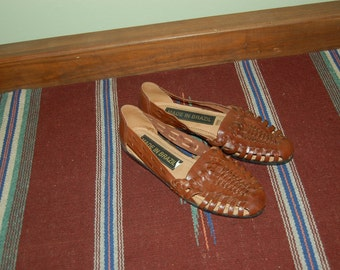Women size 10 NEW Vintage 80s HUARACHES brown woven leather BOHO flats sandals