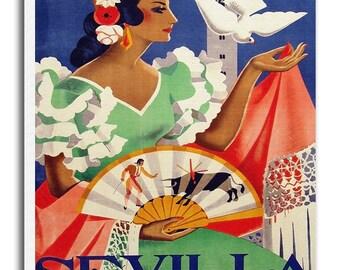 Seville Spain Vintage Travel Poster Spanish Art Retro Home Decor Print xr952