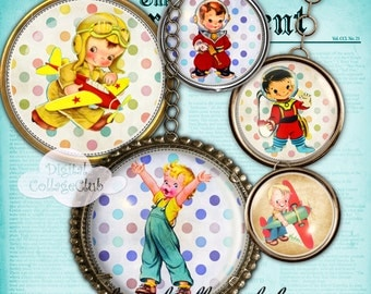 Retro Boys Bottle Cap Images for Bottlecaps 1 inch Digital Collage Sheet Round Circles Instant Download Digital Images for Jewelry Making