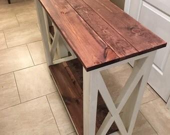 Primitive Red Mahogany Entry Farmhouse table hallway table entryway table sofa table library table Farmhouse Style