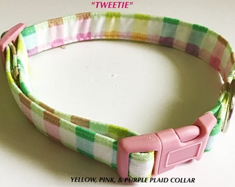 Yellow, Pink & Purple Plaid Spring and Summer Collar