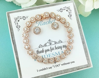 Rose Gold Bridal Bridesmaid Jewelry Set, Rose Gold Bridesmaid Jewelry Gift, Personalized Jewelry Gift, bracelet set 468933103