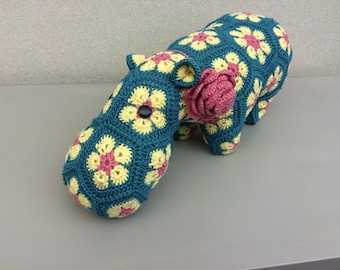 African Flower Crochet Hippopotomus-medium crochet hippo