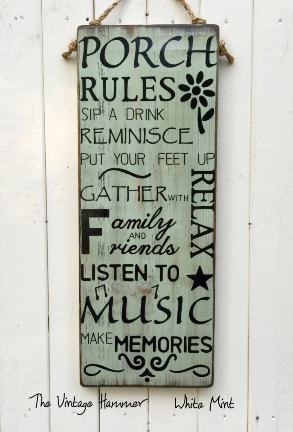 Large Porch Rules Sign Hand Painted Outdoor By