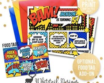 Comic Book Birthday Invitation, Super hero Birthday Invite, Comic Invitation, Boy Birthday Invite, superhero birthday Invite, DIGITAL