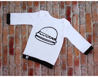 Modern Baby Shirt / Infant lap tee / Infant Shirt / Trendy Baby / Monochrome Baby / Junk food shirt / Cheeseburger shirt