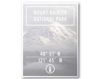 Mount Rainer National Park Poster & Postcard | Explore Poster Series | Coordinates Poster