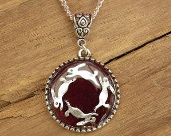Saltar liebre colgantes - joyas - joyería Wicca - pagano sagrado roble - regalo para ella - joyería artesanal hecha a mano