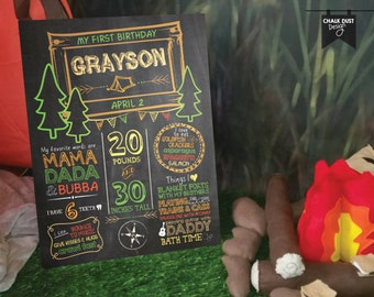 Custom chalkboard style first birthday or any age Happy Camper milestone stat poster Camping theme w/ trees, tent! Digital or printed 18x24