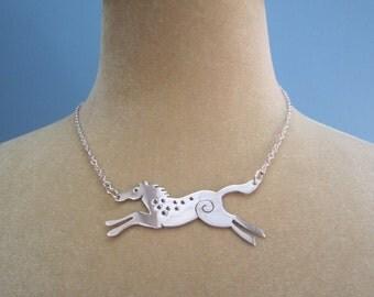 Horse necklace, horse pendant, silver horse necklace, running horse pendant, pony necklace, handmade silver necklace, wild pony pendant