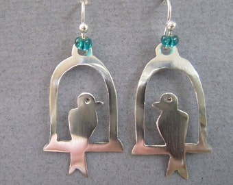 Bird earrings, bird in cage earrings, silver bird earrings, handmade silver earrings, mother's day present, birthday present