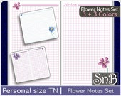 SnB Personal TN - Flower Notes set - Printable Color Notes Inserts Lined and Grid for Traveler's Notebooks