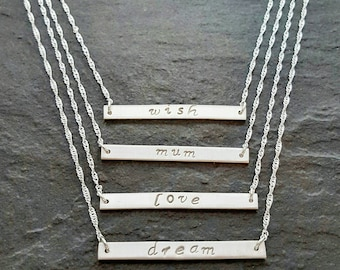 Sterling silver word or name necklace