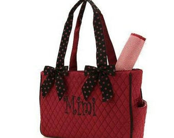 Garnet/Black Quilted Diaper Bag with FREE Monogramming