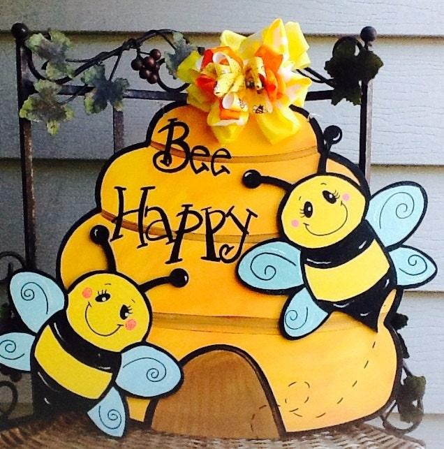 Bee Door Sign Bumble Beehive Hanger Happy