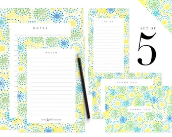 Cute Printable Note Paper Stationery Set Letter To Do Lists Template Thank You Cards Dots Pattern Digital Download