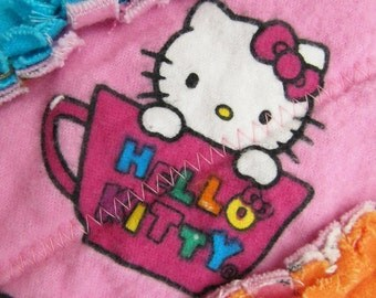 Hello Kitty Rag Quilt for Baby Girl - jelly roll raq quilt, pink colorful