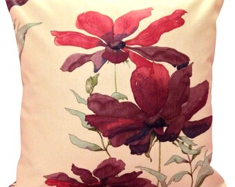 Swaffer Cosmos Purple & Fuchsia Watercolour Floral Cushion Cover