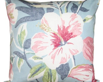 Sanderson Samaya Sky Blue & Rose Cushion Cover