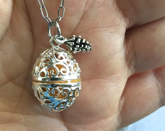Essential Oil Diffuser Necklace with Pine Cone & Lava Bead on Stainless Steel Chain