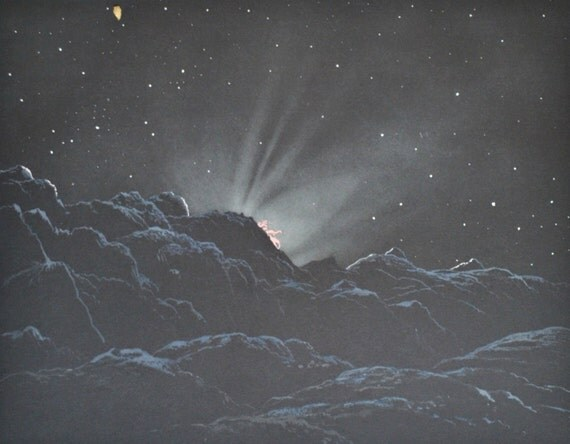 Sunrise on the Moon . Astonomy print. Old book plate, 1937. Antique  illustration. 78 years lithograph. 9'4 x 12'1 inches.