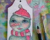 Snowman in a Santa Hat, Christmas ornament, gift tag, mixed media art painting