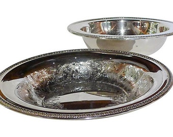 """Vintage 2 Silver Plate Bowls Marked"""" Rogers""""   Wedding bowls."""
