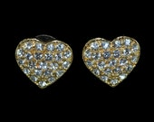 Beautiful Vintage Gold-tone and Crystal Heart Shaped Valentine's Day Earrings sparkling Pavé Bling  Romantic Weddings