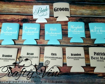 Bridal party wedding can coolers in your choice of colors and also other designs