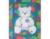Teddy Bear Card - Blank Greeting Card - Green 5x7 Card - Bear Stationery - Kids Birthday Card - Geometric Pattern - Fun Wild Card - Animal