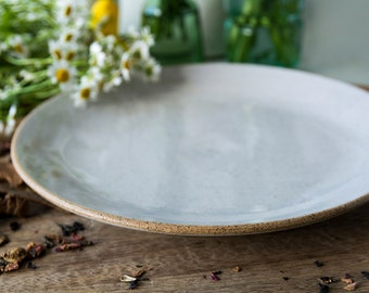 White Pottery Plate / ceramic plates / Serving Plate / Stoneware Dinnerware / Dinner Plate / Rustic Plate / Foodie Gift