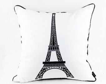 Eiffel Tower on White - Pillow Cover