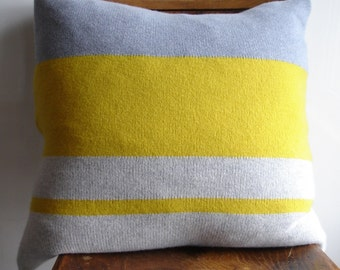 Knitted Cushion / Throw Pillow knitted in lambswool with square feather cushion pad colour yellow grey / gray stripes