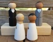 SEMI-CUSTOM Wedding Cake Topper / Heirloom / Couple Gift - Standard OR Kokeshi Style Pegs