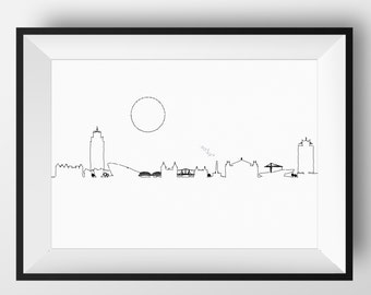 Amsterdam Skyline, Amsterdam art, Amsterdam print, Amsterdam poster, Amsterdam, Amsterdam Netherlands, skyline, Amsterdam artwork, Holland