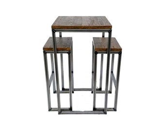 Industrial Bar Table & Two Stool Set