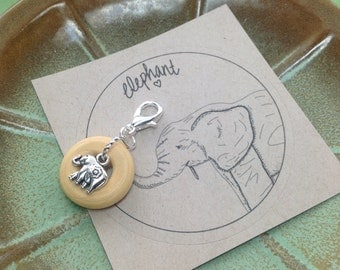 Elephant and wood Charm for Midori Notebook or Planner