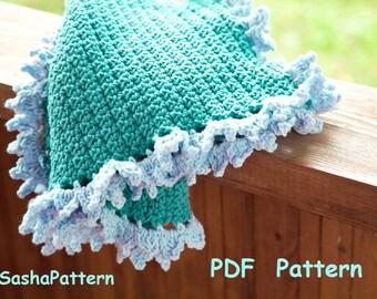 Crochet baby afghan with ruffle edging - Crochet Ruffle Border Blanket Pattern