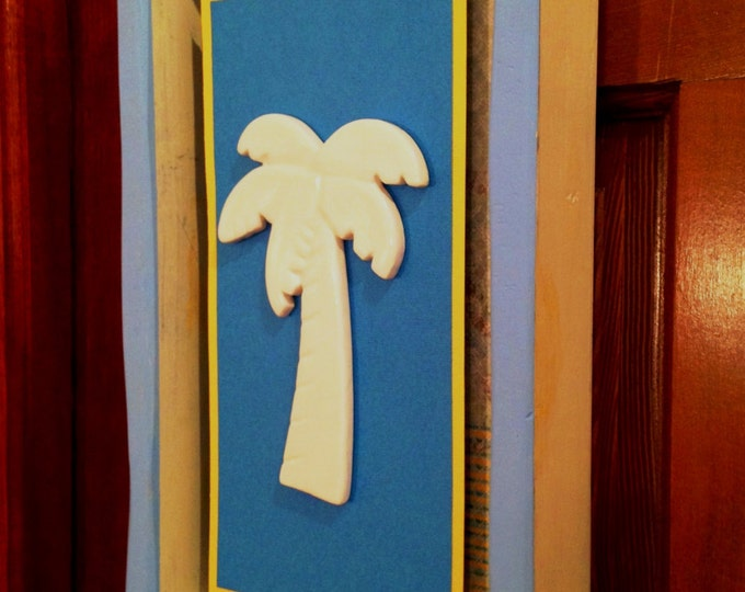 Shadow Box Wall Hanger with Stunning Ceramic Palm Tree Displayed on Layered Paper Accents in a Distressed Wood Frame from Crafts by the Sea