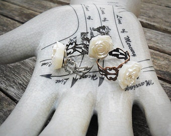 Pearly rose statement ring, ornate ring shank, antique silver, copper or gunmetal, lucite rose cabochon, adjustable ring, vintage look