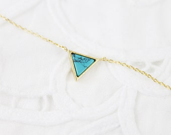 Gold Framed Turquoise Marble Triangle Pendant Necklace Bridesmaid Gift Bridesmaid Necklace Dainty and Modern Necklace Birthday Gift