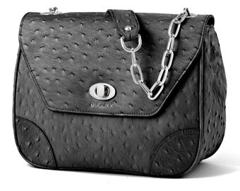 Bijouxx Black Handbag, Ostrich Leather by Bijouxx Jewels